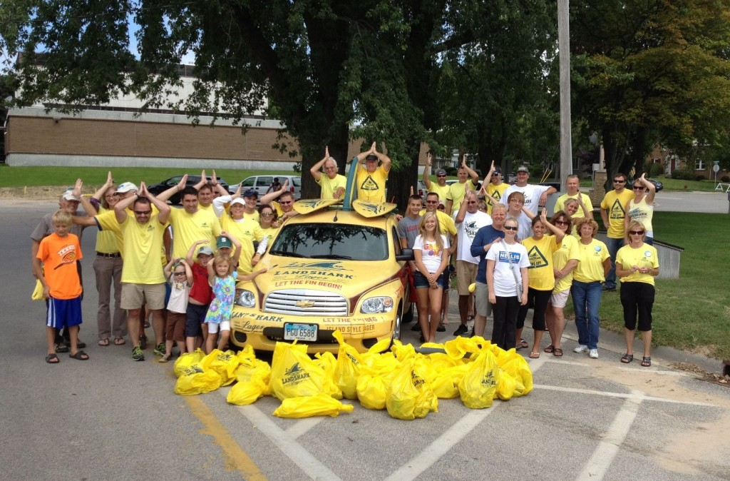 Ludington Beverage Landshark Beach Cleanup crew